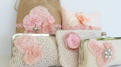 Blush pink bridal clutch, shabby chic wedding, bridesmaids gifts, maid of honor gift,  ivory metal framed clutch