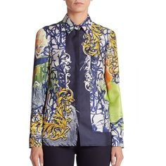 Versace Collection Graffiti-Print Silk Blouse ($595) ❤ liked on Polyvore