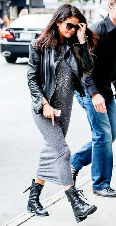 Selena Gomez embodies girly grunge in a moto jacket and combat boots. // #Style #OutfitInspiration