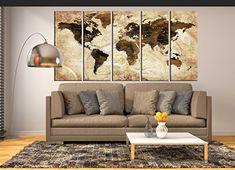 Sepia wall art push pin World map canvas print framed ext...