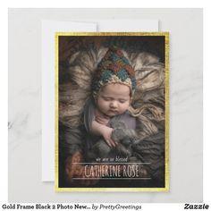 Gold Frame Black 2 Photo Newborn Baby Birth Announcement Baby Girl Birth Announcement, Birth Announcement Photos, Baby Birth, Baby Girl Newborn, Rose Gold Frame, Baby Girl Photos, 2 Photos, Portrait, Prints