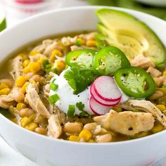 White bean chicken chili recipe simmered in a crockpot with whole roasted jalapenos, tender beans, corn, and lean chicken breast. Chili Recipes, Slow Cooker Recipes, Crockpot Recipes, Chicken Recipes, Cooking Recipes, Healthy Recipes, Baked Chicken, Healthy Eats, Meat Recipes