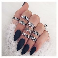Black nail polish matte with mid rings