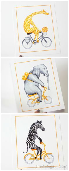 Biking animals, savannah series by Amelie Legault, prints for kids room $12.00 each, 3 for $30.00 Click here to buy now: https://www.etsy.com/ca/listing/195684446/giraffe-on-bicycle-with-flower-print?ref=shop_home_feat_4 #giraffe #zebra #elephant #bikinganimals #amelielegault