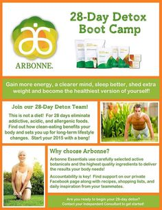 Arbonne 28 Day Detox Boot Camp. Facebook groups start every 1st and 3rd Monday of the month. Need Accountability. Join with family,friend or co-worker. Order online at:  http://luzmariaheredia.arbonne.com