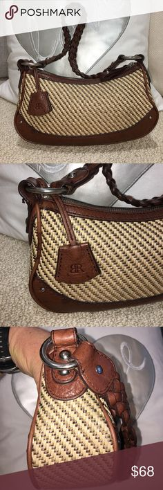 Banana Republic Shoulder/Hand Bag I'm selling a fabulous Banana Republic Shoulder/Hand Bag. I ❤️ LOVE it's quality leather and beautiful chocolate color. The designer used 3 different shades of neutral colored weaved fibers that make this the go to perfect small bag choice for virtually everything in your closet, not to mention it's so darn CUTE!😍💕❤️it has one zippered pocket inside for keys, etc... and it holds my iPhone 7Plus, lipstick, powder, blush and wallet. ...it'll get the job done…