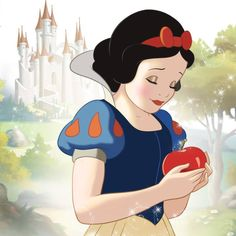 "Disney Smile this look speaks volumes like ""the past still hurts but I'm strong and can make it though this"" and she has the apple like she has to forgive it cause it wasn't the apples fault what happened"