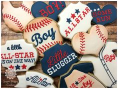vintage baseball baby shower, All Star Baby, Little Slugger, sugar cookies…