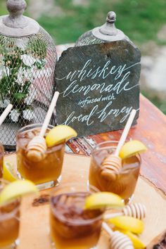 Rustic Audubon Wedding Inspiration - - SMPers, get ready to feast your eyes on some seriously pretty flora and fauna goodness. Inspired by vintage Audubon prints, this shoot is the perfect marriage of masculine and feminine, including th. Wedding Signature Drinks, Signature Cocktail, Whisky, Tequila Sunrise, Wedding Stationery Inspiration, Wedding Inspiration, Whiskey Lemonade, Lemonade Cocktail, Lemonade Wedding