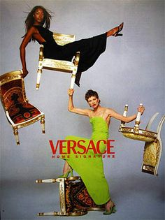 Versace Home Ad Campaign Spring 1996 Naomi Campbell, Kristen Mcmenamy by Richard Avedon