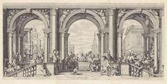 Jan Saenredam | Christus aan de maaltijd in het huis van Levi de Tollenaar, Jan Saenredam, Cornelius Schonaeus, 1575 - 1607 | Het renaissancistisch interieur van het huis van Levi de Tollenaar. Op de voorgrond een trap met etende gasten. De prent heeft een Latijnse onderschrift. Prent met een voorstelling uit drie platen. Naar het schilderij van Paolo Veronese uit 1573 in de Academia, Venetië. De prent heeft een Latijnse onderschrift.