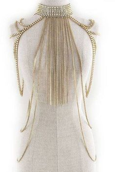 CLEOPATRA SHOULDER BODY CHAIN CHOKER NECKLACE COSTUME GOLD FRINGE COLLAR HARNESS #Unbranded