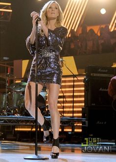 Grammy-winning singer Carrie Underwood performed in Jovani style 158975 at the 2012 ACM Awards. -- PromDressShop.com