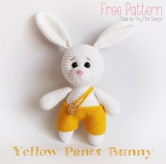 [ Yellow Pants Bunny ] 깜찍하고 귀여운 노~~오란 바지를 입은 바니에요~^-^ 눈썹을 쳐지게 스티치 해...