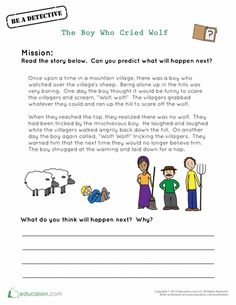 The boy who cried wolf worksheet Free printable worksheet well