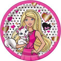 Barbie Dessert Plates, in Plates. Barbie Birthday Party, Barbie Party, Birthday Cake, Cute Couple Wallpaper, Pink Wallpaper, Party Plates, Dessert Plates, Panda Kawaii, Barbie Cartoon