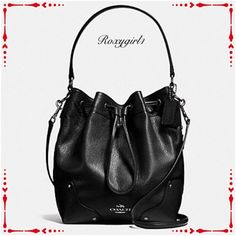 "MICKIE DRAWSTRING SHOULDER BAG IN GRAIN LEATHER COACH MICKIE DRAWSTRING SHOULDER BAG IN GRAIN LEATHER  MSRP: $450 STYLE NO. F35684 QB/BK COLOR: BLACK Details: 2  Hangtags Grain leather Antique nickel tone hardware Inside 1 Zip pocket 1 Cell phone pocket 1 Multifunction pocket Outside 1 Zip pocket Drawstring closure, fabric lining Handles with 7.5"" drop Adjustable and detachable strap with 19""-24"" drop for shoulder or crossbody wear 10.5"" (L) x 11.25"" (H) x 5.75"" (W) Comes with gift receipt…"