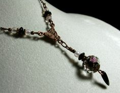 Black & Pink Rosebud Flower Crystal Drop by TitanicTemptations