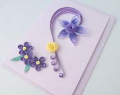Items similar to Quilled birthday card, paper quilling, personalized message on Etsy