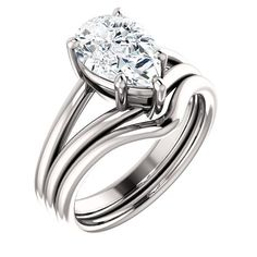 Diamond Engagement Rings : 2.0 Ct Pear Solitaire Diamond Engagement Ring 14k White Gold Goldia.com