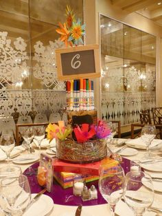 Recycled Centerpieces & Green Theme - LOVE this - the items can be donated after!!!!