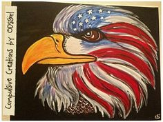 Patriotic Eagle Acrylic Hand Painted on 16x20 Canvas by ODsGirl, $65.00