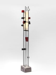 Juliette Durel; Glazed Ceramic, Enameled Metal and Perspex Floor Lamp, 1960