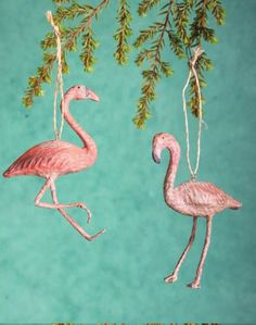 Recycled Paper Flamingo Ornaments