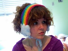 Rainbow headband with cloud earmuffs... Adorable.