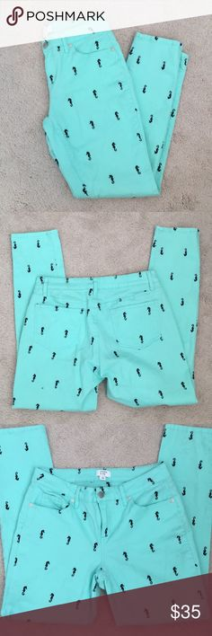 Crown & Ivy seahorse embroidered pants!!! Excellent condition, 14 inch waist laying flat, 27 inch inseam, no stains, holes, or rips, seahorses are navy blue and embroidered on, smoke free home. No trades. Mint green color. Crown & Ivy Pants Skinny