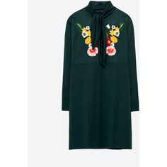 EMBROIDERED DRESS WITH BOW AT THE NECK - NEW IN-WOMAN | ZARA United... ($50) ❤ liked on Polyvore featuring dresses, broderie dress, embroidered dress, green embroidered dress, green dress and embroidery dress