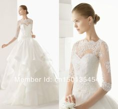 Fantastic Design Ball Gown Scoop Lace Long Off-the-Shoulder Wedding Dress with Sleeves $169.00