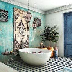 Arredare il bagno in stile etnico - Bagno etnico con vasca da bagno