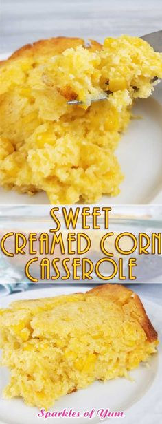 """Somebody call Oprah, she would definitely put this on her """"New Favorite Things List"""". It is so good and with such simple ingredients, it's hard to believe not everyone knows about the buttery, cheesy goodness that is this Sweet Creamed Corn Casserole #holidayrecipe #sidedish #casserolerecipe #southernfood via @sparklesofyum"""