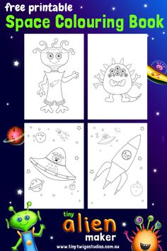 tiny alien maker free space colouring book printable make alien friends crazy space - How To Make A Coloring Book App