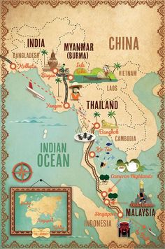 This is simply beautiful >Alexandre Verhille - Across the Planet : Stage 3 ( Myanmar to Singapore) Last part from the extraordinary trip of Maureen and Tony Wheeler ( co-founders of Lonely Planet ) Travel Maps, Asia Travel, Travel Posters, Travel Destinations, Travel Route, Lonely Planet, Laos, Travel Sticker, Myanmar Travel