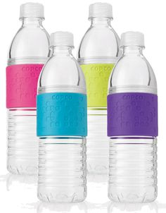 Reusable water bottle that opens above the colored part so that you can add lemons, ice, etc. Amazing!