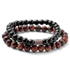 * By Danish brand Lucleon * Pear wood and Adamas stone * Strong elastic Stone Bracelet, Black Bracelets, Bracelets For Men, Paracord Bracelets, Beaded Bracelets, Tiger Eye Bracelet, Red Tigers Eye, Engraved Bracelet, Diy Jewelry Making
