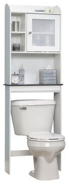 Sauder Caraway Etagere in Soft White contemporary-bathroom-storage