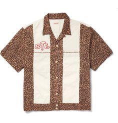 KAPITAL - Camp-Collar Embroidered Leopard-Print Cotton Shirt