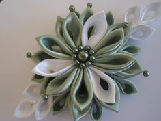 Pale Green, Light Green & White Kanzashi Flower Hair Clip With Pearls   $22.00 USD