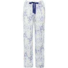 Calvin Klein Graphic Bonded Skin Print Pyjama Pants, White/Blue (¥6,395) ❤ liked on Polyvore featuring intimates, sleepwear, pajamas, white pjs, white sleepwear, white pajamas, blue pajamas and calvin klein pajamas