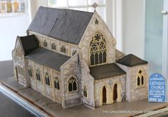 Gingerbread replica of a passionist church in Kent. Entirely edible, not a single toothpick used. Coating made of lemon flavour icing. The roofs were challenging and also to get the proportions right. Gingerbread House Designs, Christmas Gingerbread House, Gingerbread Cookies, Gingerbread Houses, Gingerbread Recipes, Christmas Crafts, Building Cake, Church Building, Building A House