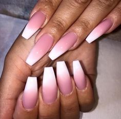 White pink ombré nails