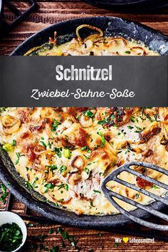 Schnitzel Zwiebel-Sahne Essen und trinken Would you like a hearty meat dish? Try our pork escalope r Meat Recipes For Dinner, Easy Meat Recipes, Cream Recipes, Pork Recipes, Crockpot Recipes, Easy Meals, Dessert Recipes, Healthy Recipes, Hamburger In Crockpot