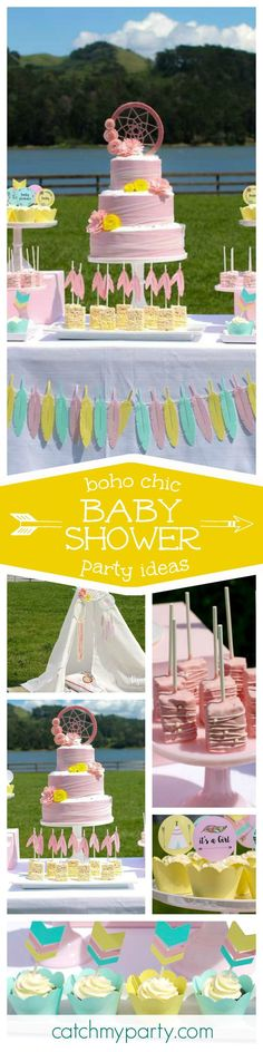 Check out this fantastic Boho chic pink Baby shower! The cake is stunning and the desserts so pretty! See more party ideas and share yours at http://CatachMyParty.com