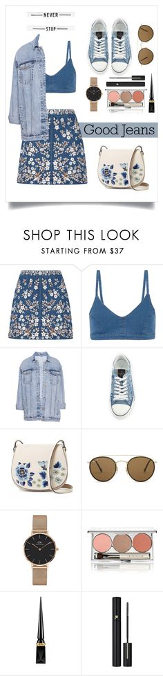 """Untitled #63"" by eria-korka ❤ liked on Polyvore featuring Needle & Thread, J Brand, Pull&Bear, Valentino, French Connection, Ray-Ban, Daniel Wellington, Chantecaille, Christian Louboutin and Lancôme"
