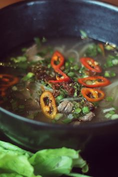 Traditional Vietnamese beef Pho with fresh chili