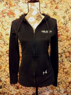 UNDER ARMOUR Women's Semi-Fitted Black Hoodie Size Small Orlando FLA Long Sleeve #Underarmour #Hoodie
