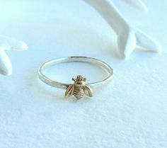 Simple tiny sterling silver bee ring silver and gold by lunahoo
